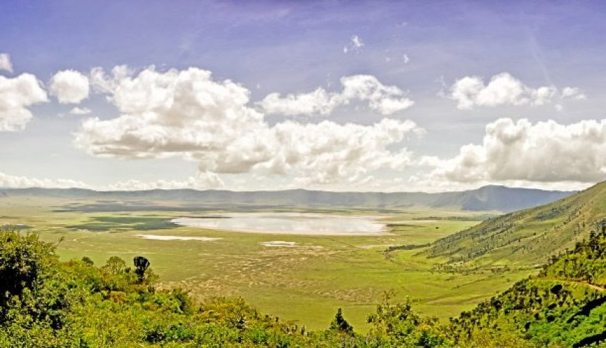 Panoramic view of Crater Ngorongoro at the afternoon