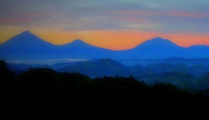 Volcanoes in the sunset