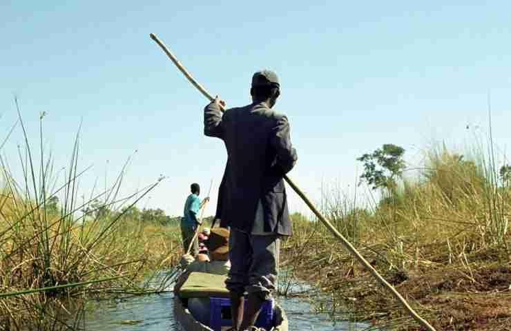 OKAVANGO DELTA, BOTSWANA - MAY 25 Mokoro man on 25 May 2002 at Botswana. Local people use wooden mokoros to transport tourists in the Okavango Delta